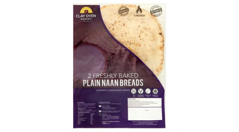 The Clay Oven Bakery 2 Freshly Baked Plain Naan Breads 360g