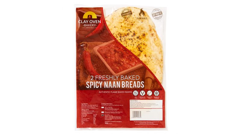 The Clay Oven Bakery 2 Freshly Baked Spicy Naan Breads 360g